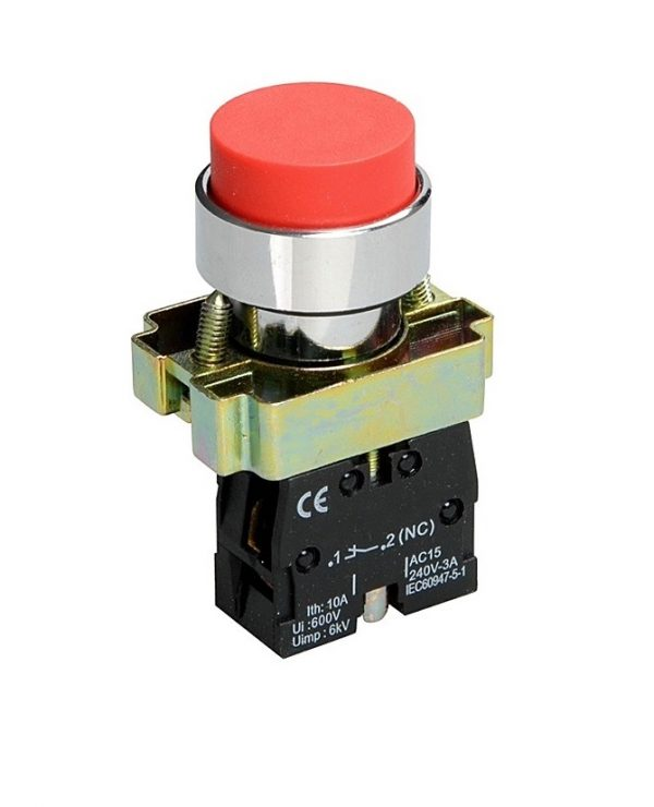 Кнопка XB2-BL41 1NO без подсветки красный