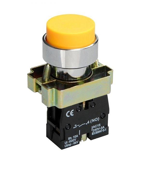 Кнопка XB2-BL51 1NO без подсветки желтый