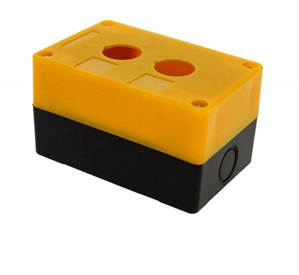 Корпус КП102 для кнопок, 2 места, желтый