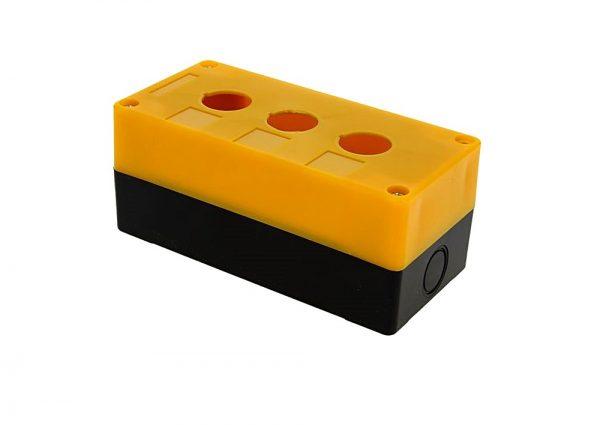 Корпус КП103 для кнопок, 3 места, желтый