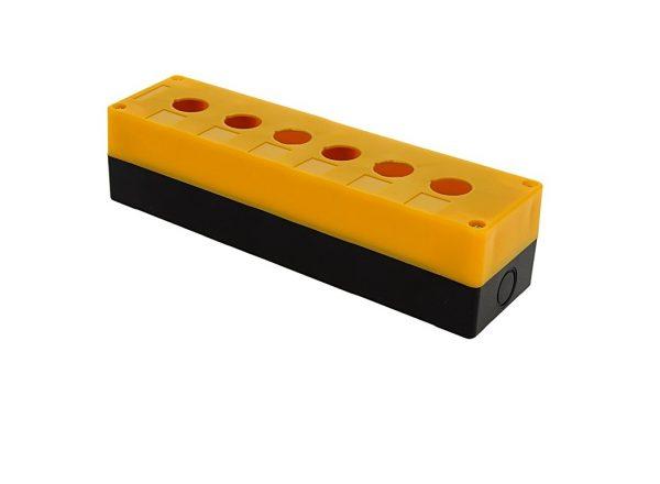 Корпус КП106 для кнопок, 6 места, желтый