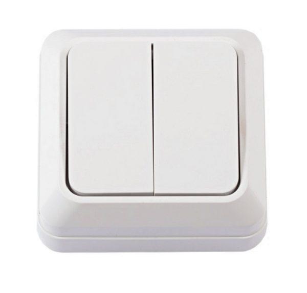 Выключатель наруж. устан. 2-клавишный белый IP20